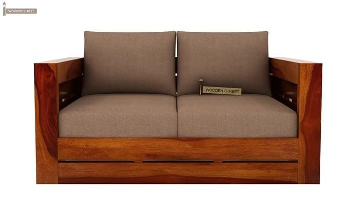 Stegen 2 Seater Wooden Sofa (Honey Finish)-2