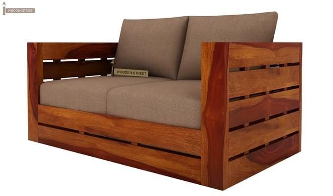 Stegen 2 Seater Wooden Sofa (Honey Finish)-3