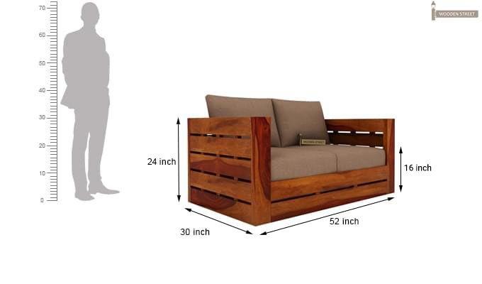 Stegen 2 Seater Wooden Sofa (Honey Finish)-5
