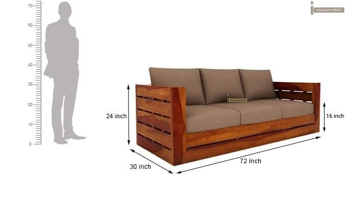 Stegen Wooden Sofa 3+1+1 Sets (Honey Finish)-11