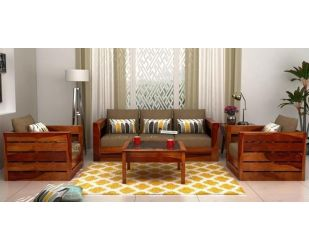 Stegen Wooden Sofa 3+1+1 Sets (Honey Finish)
