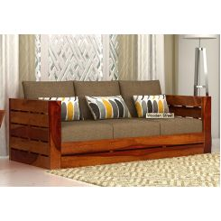 Stegen 3 Seater Wooden Sofa (Honey Finish)