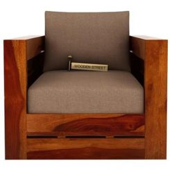 Stegen 1 Seater Wooden Sofa (Honey Finish)