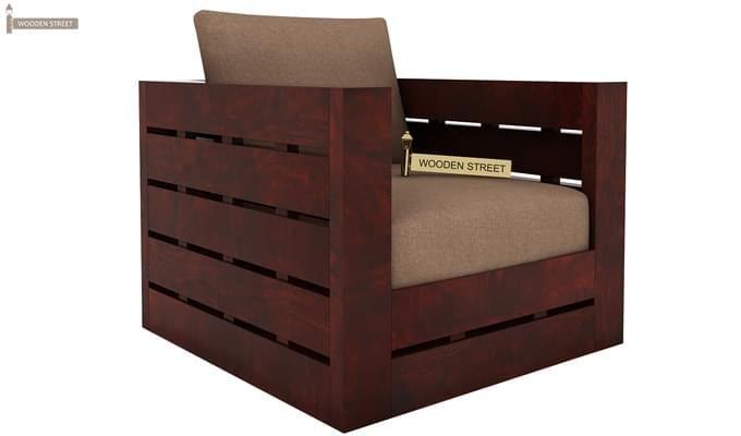 Stegen 1 Seater Wooden Sofa (Mahogany Finish)-1