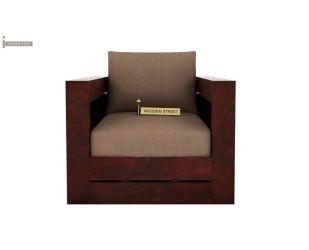 Stegen 1 Seater Wooden Sofa (Mahogany Finish)