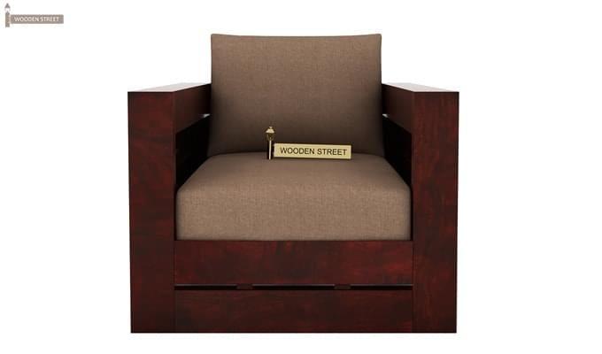 Stegen 1 Seater Wooden Sofa (Mahogany Finish)-2