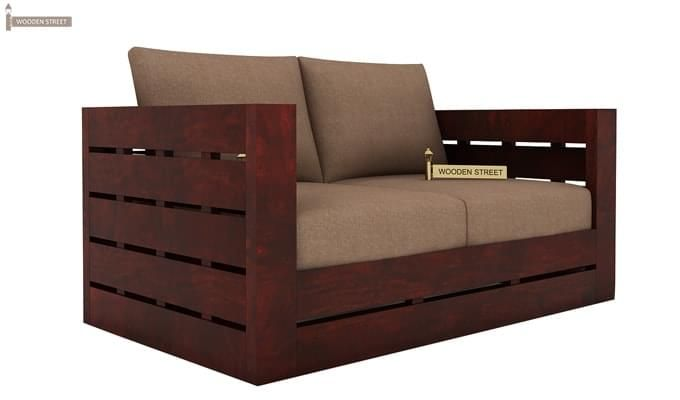 Stegen 2 Seater Wooden Sofa (Mahogany Finish)-2
