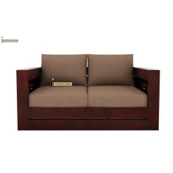 Stegen 2 Seater Wooden Sofa (Mahogany Finish)