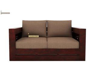 Stegen 2 Seater Wooden Sofa (Mahogany Finish)