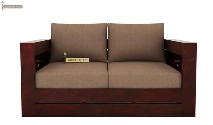 Stegen 2 Seater Wooden Sofa (Mahogany Finish)-1