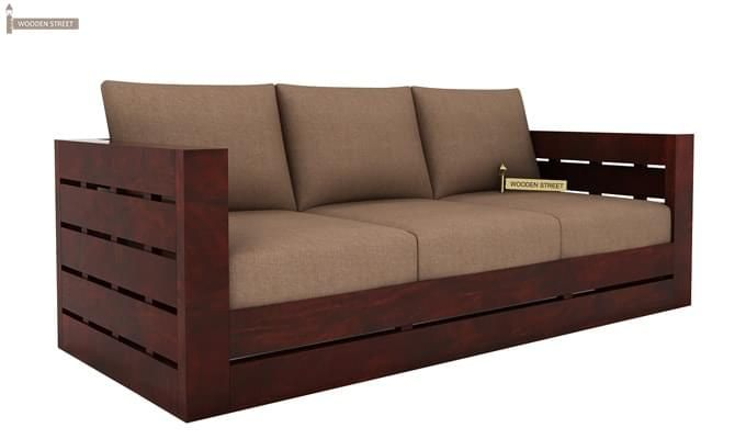 Stegen 3 Seater Wooden Sofa (Mahogany Finish)-2