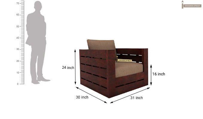 Stegen 1 Seater Wooden Sofa (Mahogany Finish)-3
