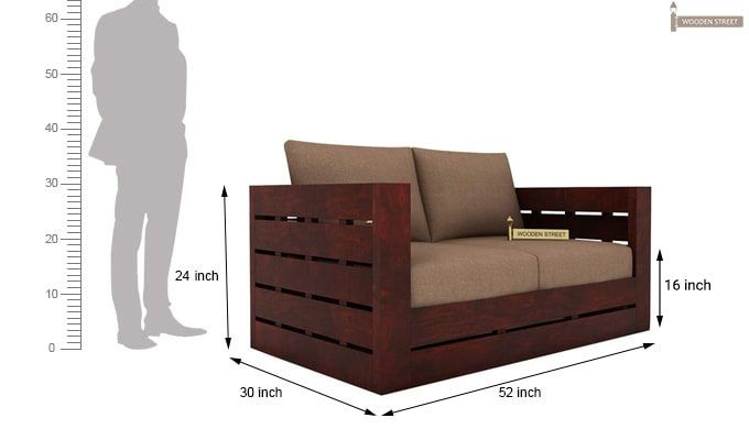Stegen 2 Seater Wooden Sofa (Mahogany Finish)-3