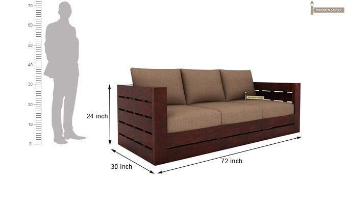 Stegen 3 Seater Wooden Sofa (Mahogany Finish)-3