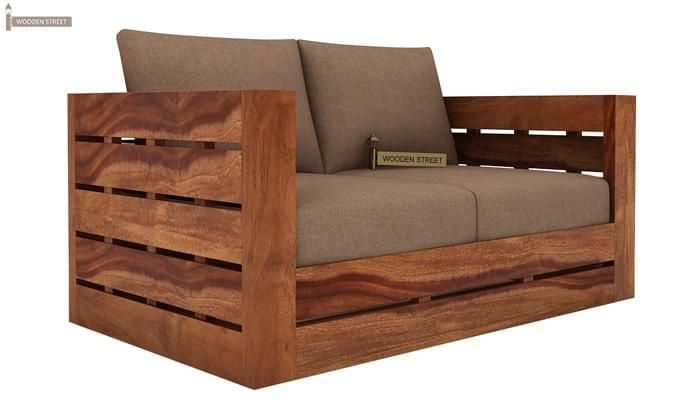 Stegen 2 Seater Wooden Sofa (Teak Finish)-2