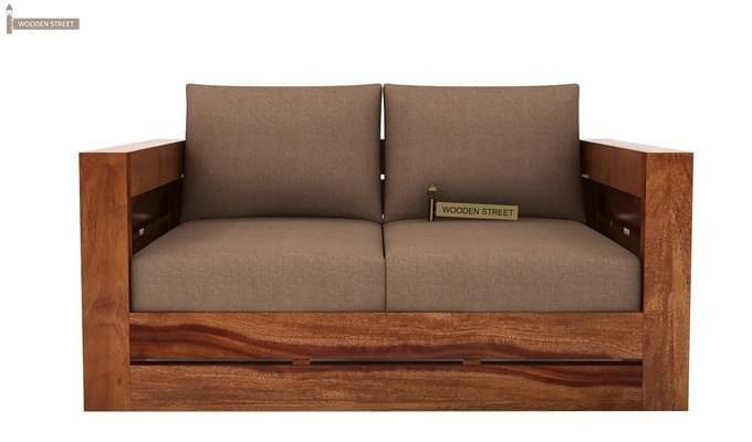 Stegen 2 Seater Wooden Sofa (Teak Finish)-1