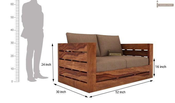 Stegen 2 Seater Wooden Sofa (Teak Finish)-3