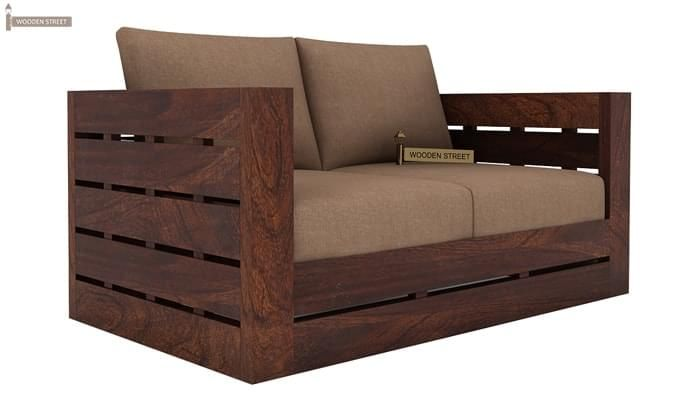 Stegen 2 Seater Wooden Sofa (Walnut Finish)-1