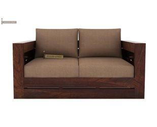 Stegen 2 Seater Wooden Sofa (Walnut Finish)