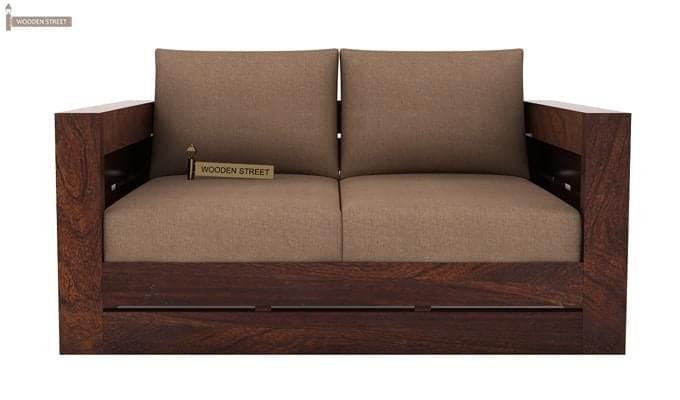 Stegen 2 Seater Wooden Sofa (Walnut Finish)-2