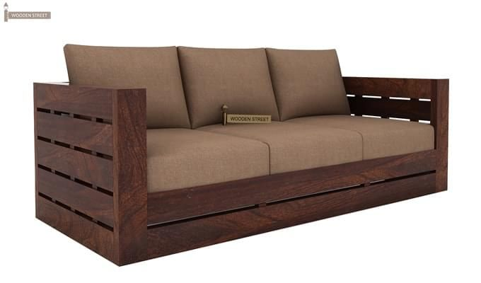Stegen 3 Seater Wooden Sofa (Walnut Finish)-2