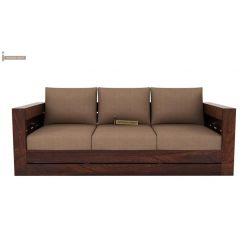 Stegen 3 Seater Wooden Sofa (Mahogany Finish)