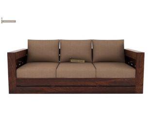Stegen 3 Seater Wooden Sofa (Mahogany Finish)