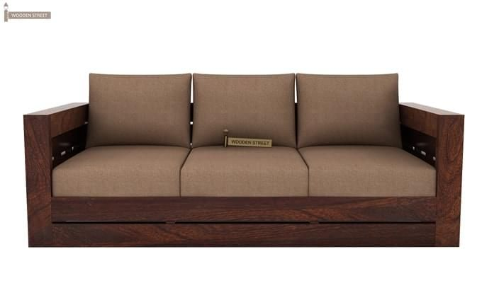 Stegen 3 Seater Wooden Sofa (Walnut Finish)-1