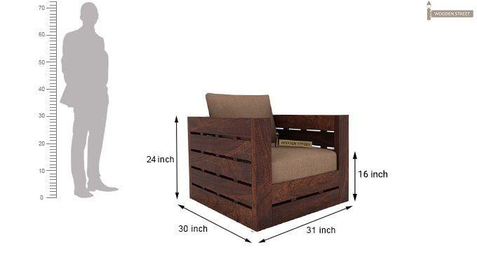 Stegen 1 Seater Wooden Sofa (Walnut Finish)-3