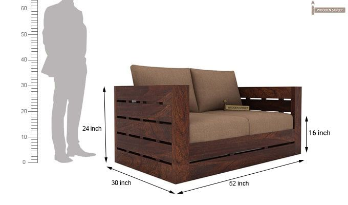 Stegen 2 Seater Wooden Sofa (Walnut Finish)-3