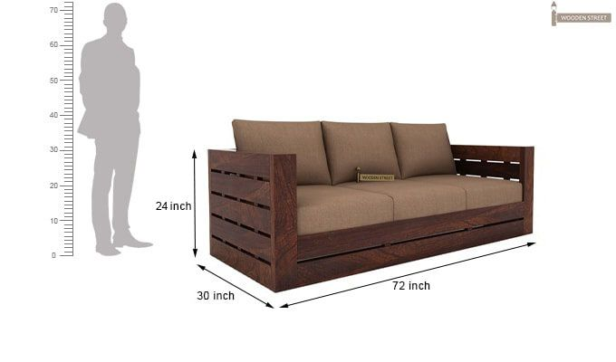 Stegen 3 Seater Wooden Sofa (Walnut Finish)-3