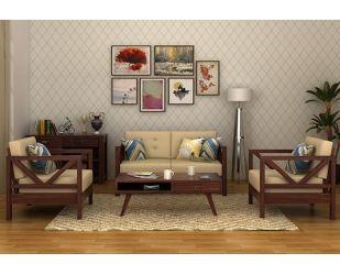 Veneker Wooden Sofa 2+1+1 Set (Walnut Finish)
