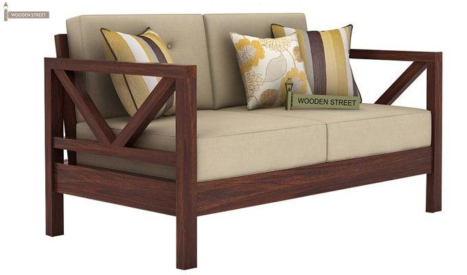 Veneker Wooden Sofa 2+1+1 Set (Walnut Finish)-4