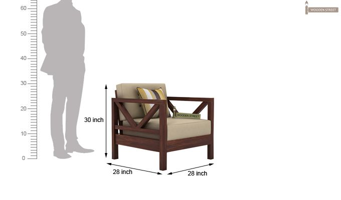 Veneker Wooden Sofa 1+1 Set (Walnut Finish)-4