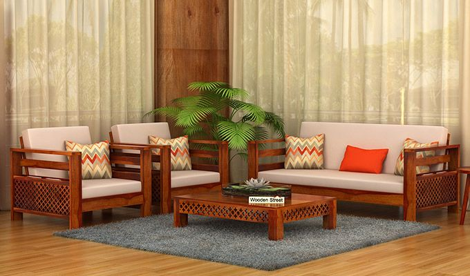 Vigo 3+1+1 Seater Wooden Sofa (Honey Finish)-1