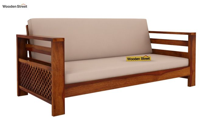 Vigo 3+1+1 Seater Wooden Sofa (Honey Finish)-2