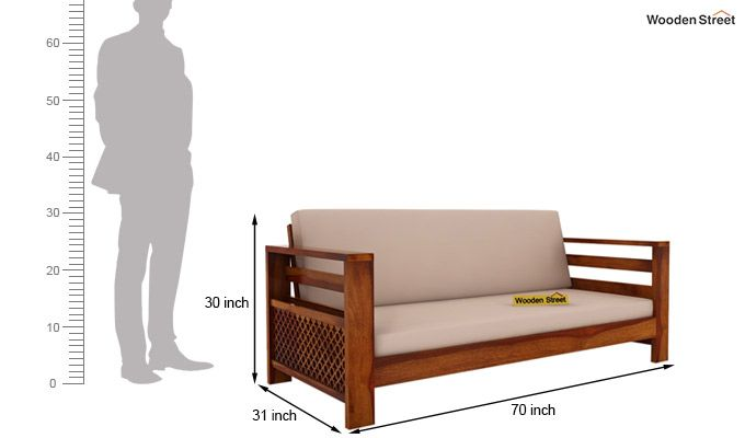 Vigo 3+1+1 Seater Wooden Sofa (Honey Finish)-8