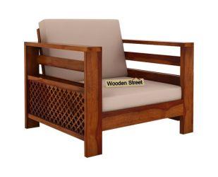Vigo 1 Seater Wooden Sofa (Honey Finish)