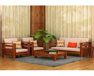 Vigo 3+1+1 Seater Wooden Sofa (Honey Finish)