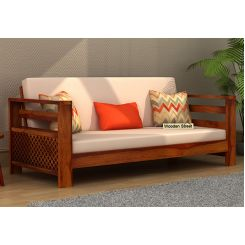 Vigo 3 Seater Wooden Sofa (Honey Finish)