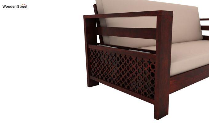 Vigo 3 Seater Wooden Sofa (Mahogany Finish)-3