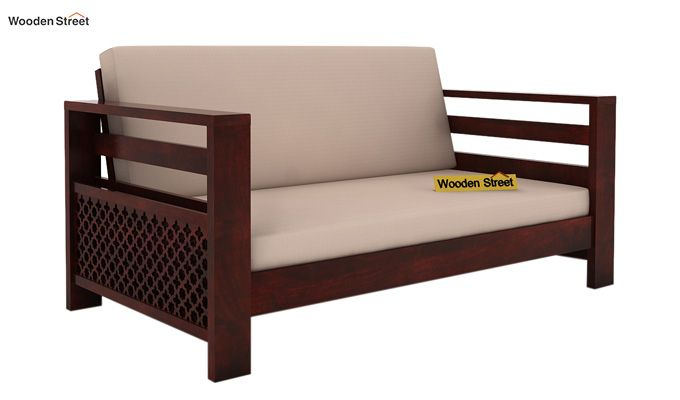 Vigo 2 Seater Wooden Sofa (Mahogany Finish)-1