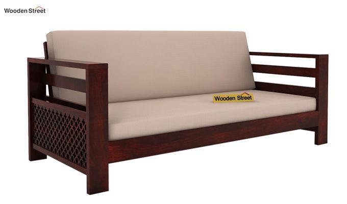 Vigo 3 Seater Wooden Sofa (Mahogany Finish)-1