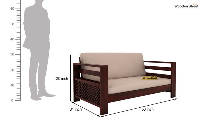 Vigo 2 Seater Wooden Sofa (Mahogany Finish)-4