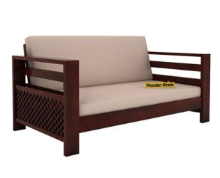 Vigo 2 Seater Wooden Sofa (Mahogany Finish)