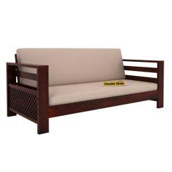 Vigo 3 Seater Wooden Sofa (Mahogany Finish)