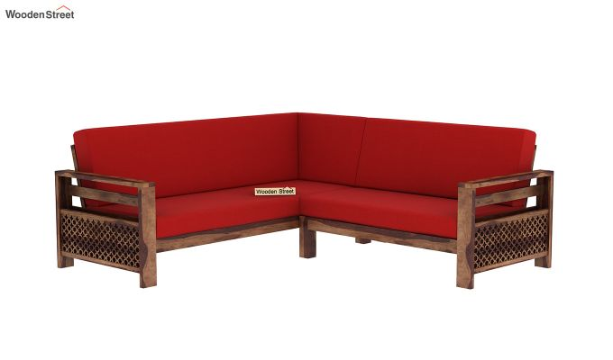 Vigo L-Shaped Wooden Sofa (Dusky Rose, Teak Finish)-3