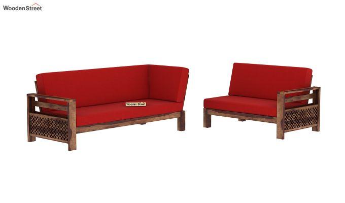 Vigo L-Shaped Wooden Sofa (Dusky Rose, Teak Finish)-4