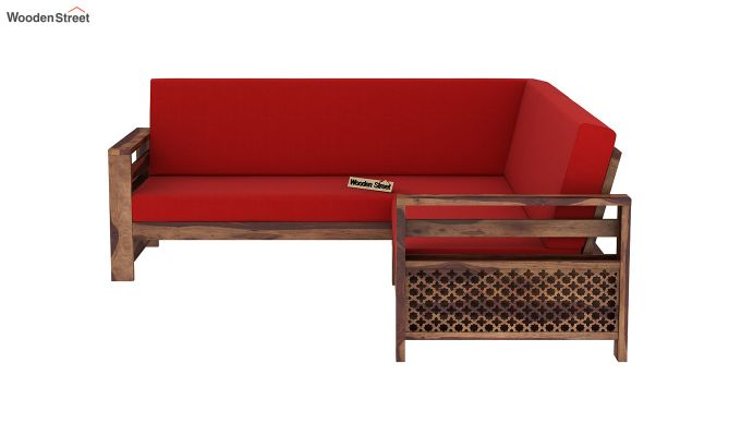 Vigo L-Shaped Wooden Sofa (Dusky Rose, Teak Finish)-5