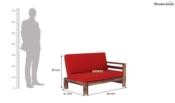 Vigo L-Shaped Wooden Sofa (Dusky Rose, Teak Finish)-10